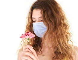A girl wearing a mask in quarantine