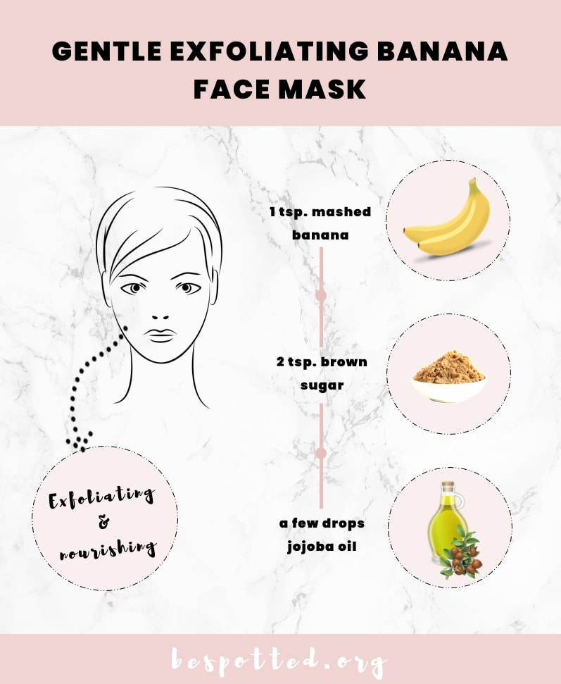 Gentle exfoliating banana face mask for dry skin - recipe infographic