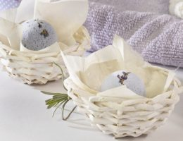 Homemade spa products arranged in small DIY spa gift baskets