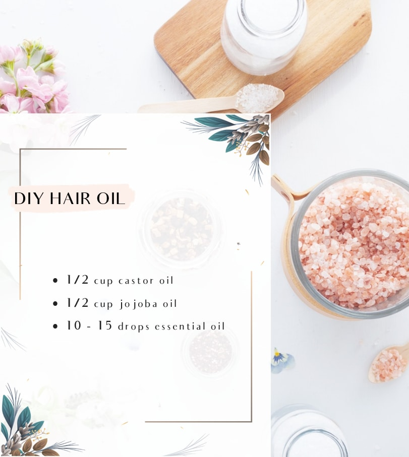 An infographic showing a recipe for Nourishing DIY Hair Oil