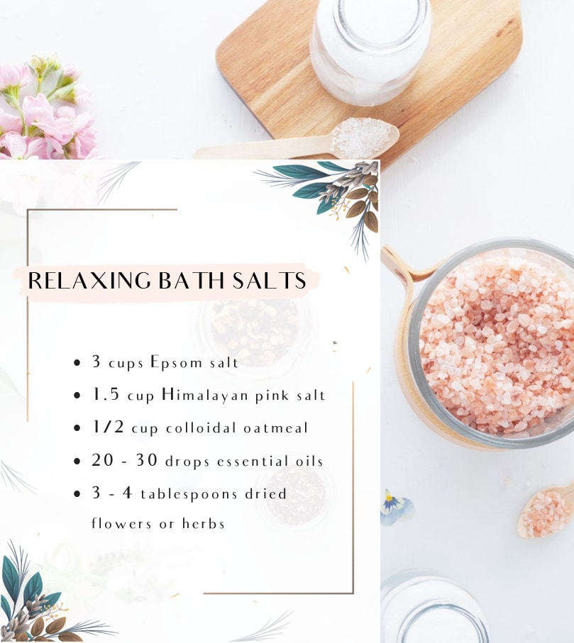 An infographic showing a recipe for Relaxing DIY Bath Salts