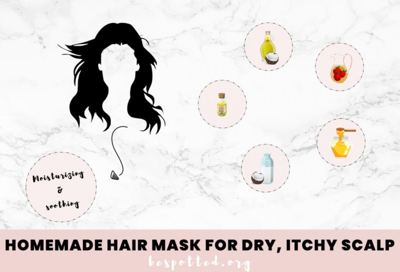 All the ingredients for a Homemade hair mask for dry, itchy scalp