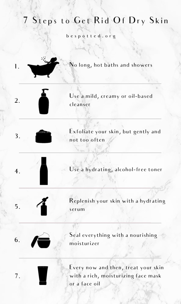 A Pinterest friendly image showing all the 7 steps to get rid of dry skin
