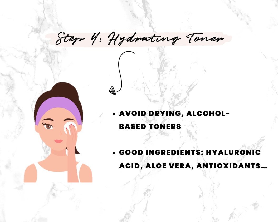 Step 4 in getting rid of dry skin - Replenishing face toner
