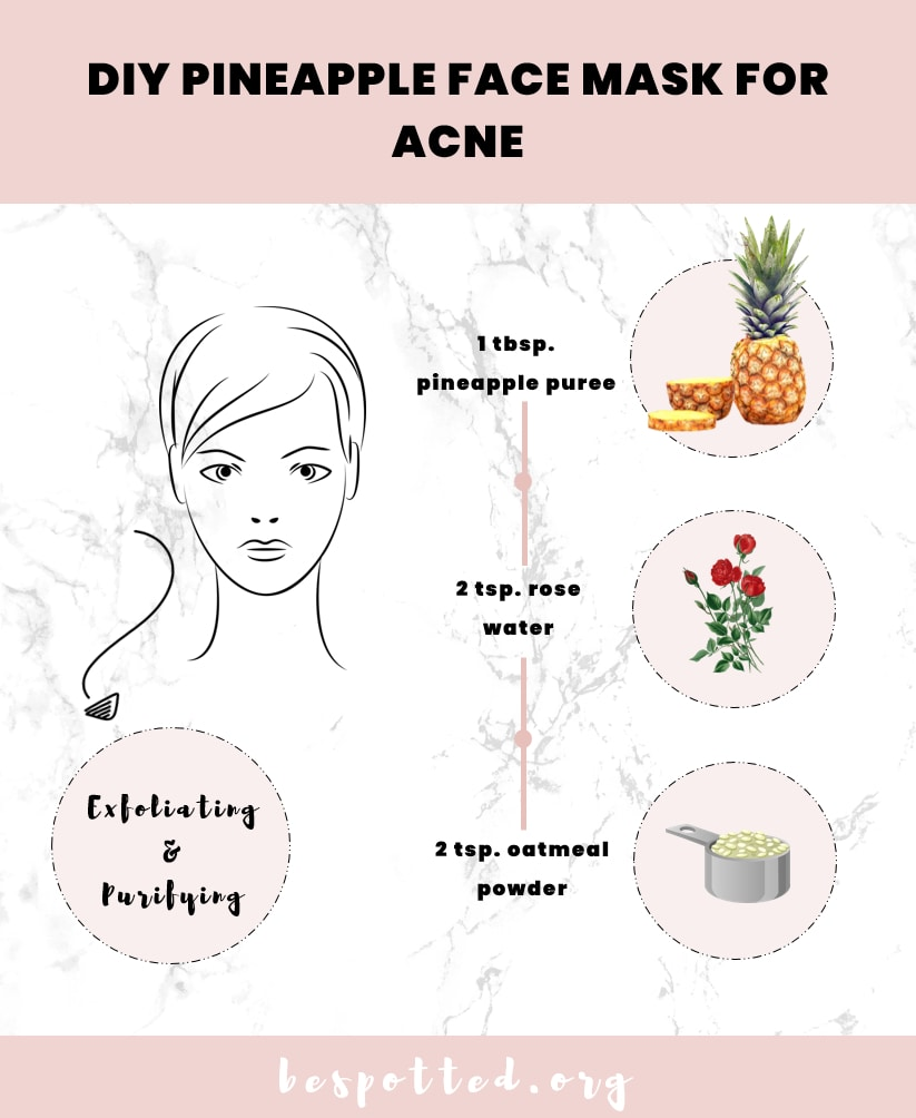 An infographic that shows how to make DIY pineapple face mask for acne