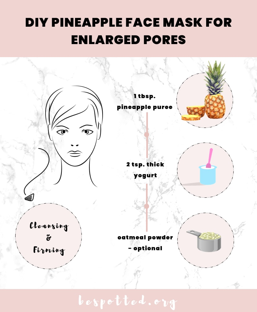 An infographic that shows how to make DIY pineapple face mask for enlarged pores