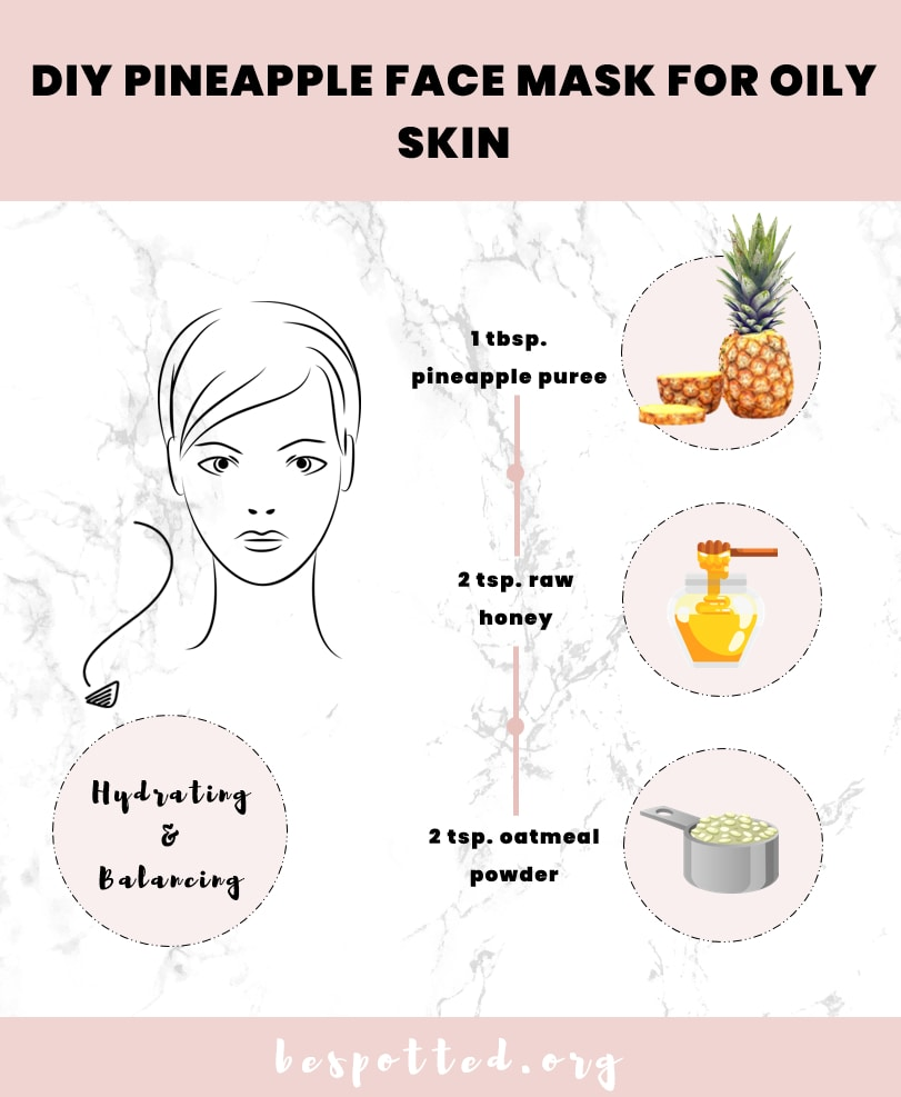 An infographic that shows how to make DIY face mask for oily skin with pineapple, honey and oatmeal