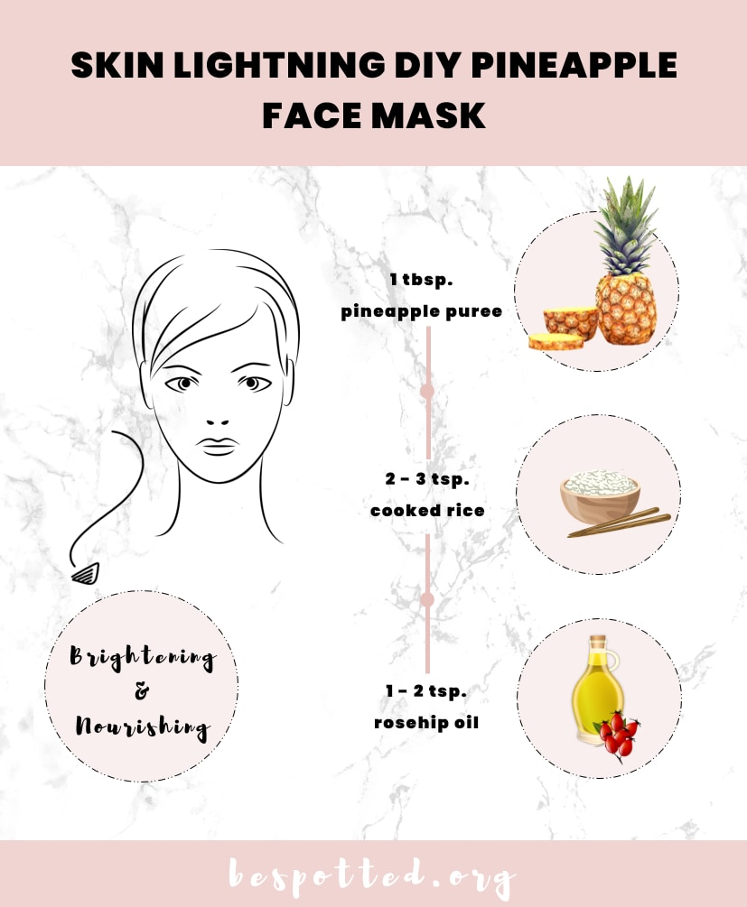 A recipe for a mask that provides one of the benefits of pineapple for skin - skin brightening