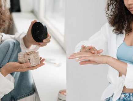 A girl trying out the best body scrubs for glowing skin