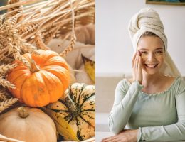 A girl trying out pumpkin beauty products